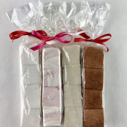 Four packages of four marshmallows each tied with colorful ribbons